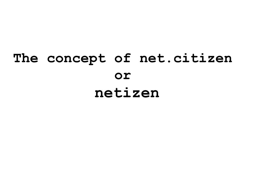 The concept of net.citizen