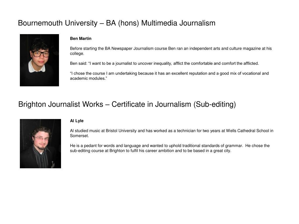 Bournemouth University – BA (hons) Multimedia Journalism