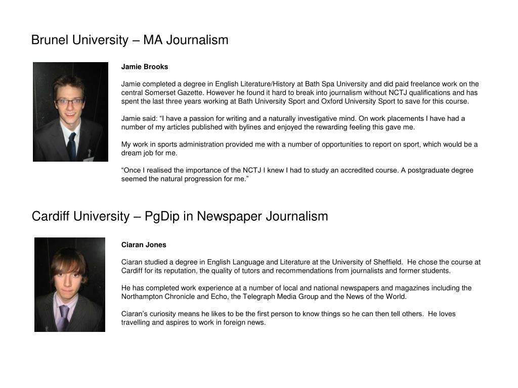 Brunel University – MA Journalism