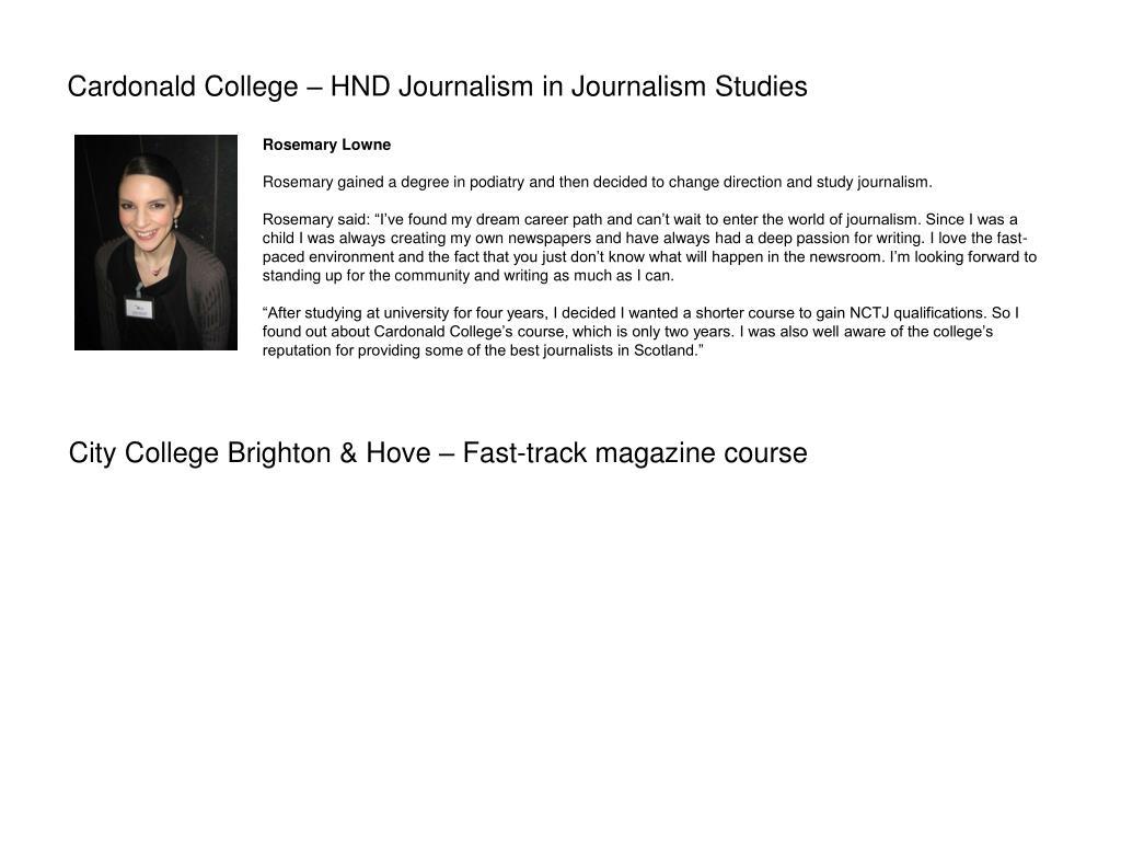 Cardonald College – HND Journalism in Journalism Studies