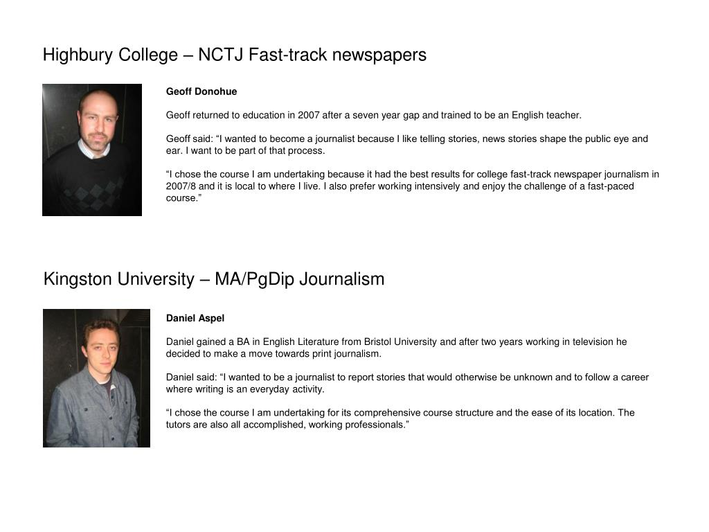 Highbury College – NCTJ Fast-track newspapers