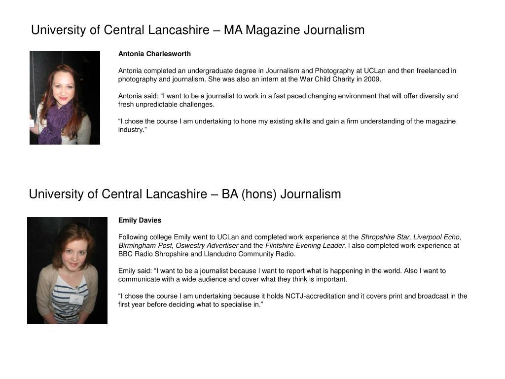 University of Central Lancashire – MA Magazine Journalism