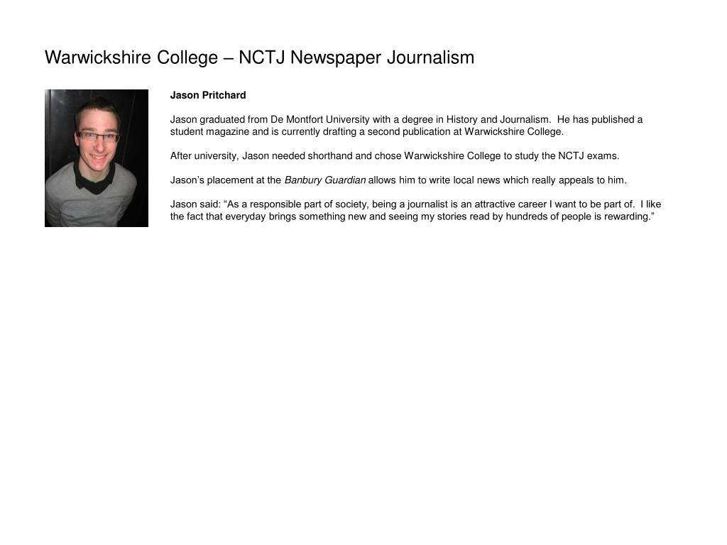 Warwickshire College – NCTJ Newspaper Journalism