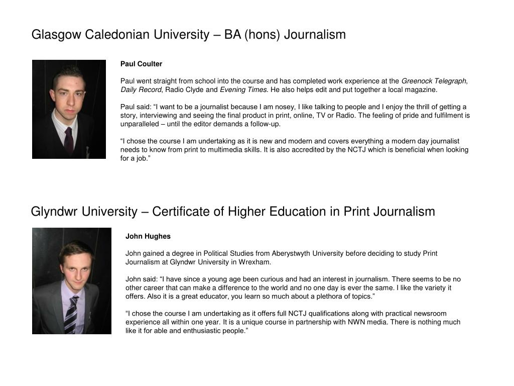 Glasgow Caledonian University – BA (hons) Journalism