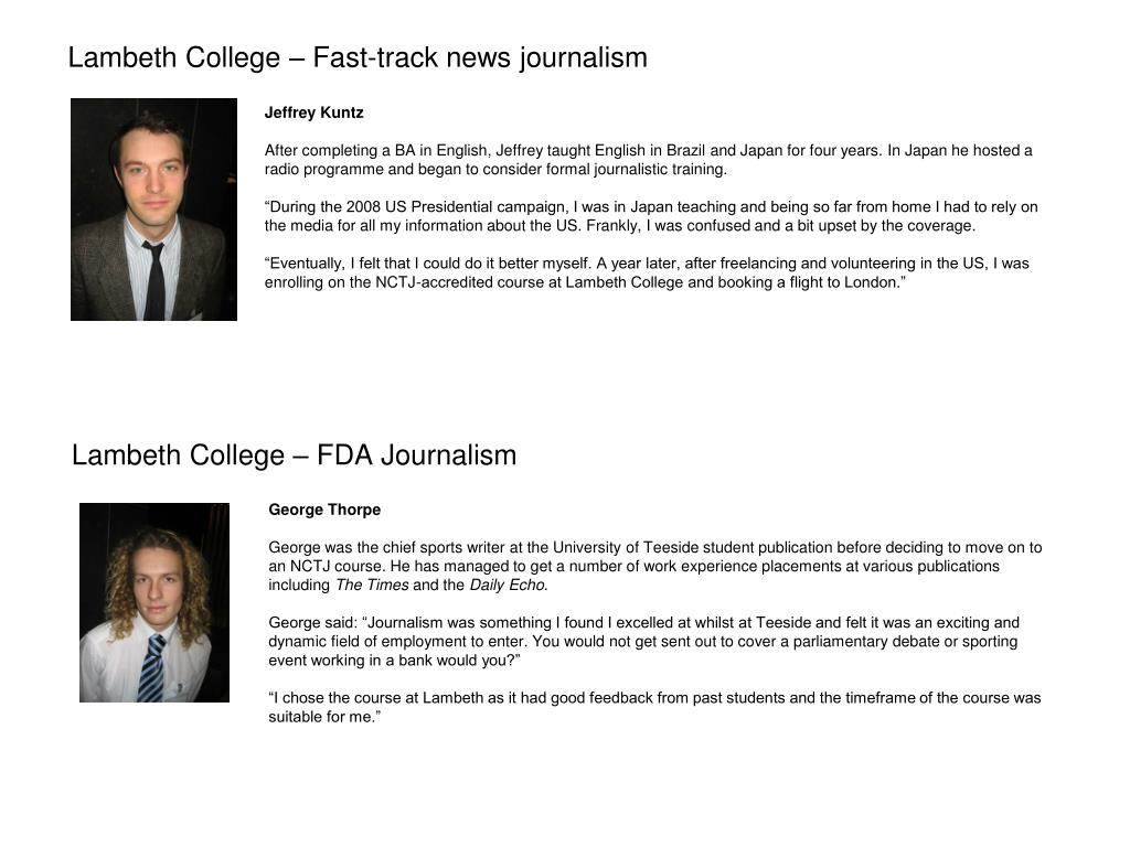 Lambeth College – Fast-track news journalism