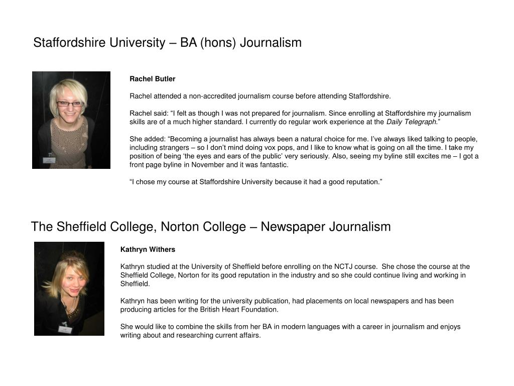 The Sheffield College, Norton College – Newspaper Journalism