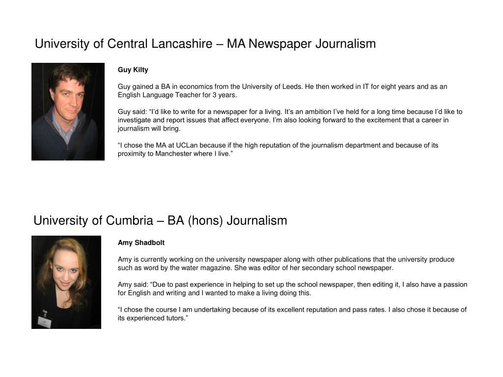 University of Cumbria – BA (hons) Journalism