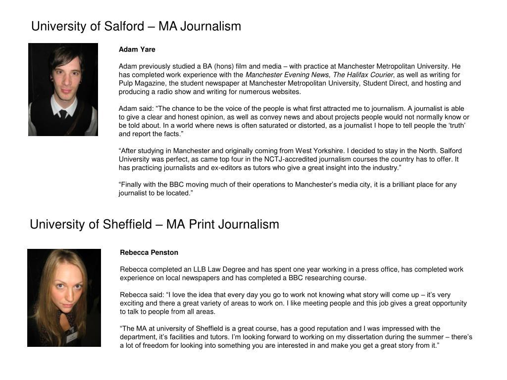 University of Salford – MA Journalism