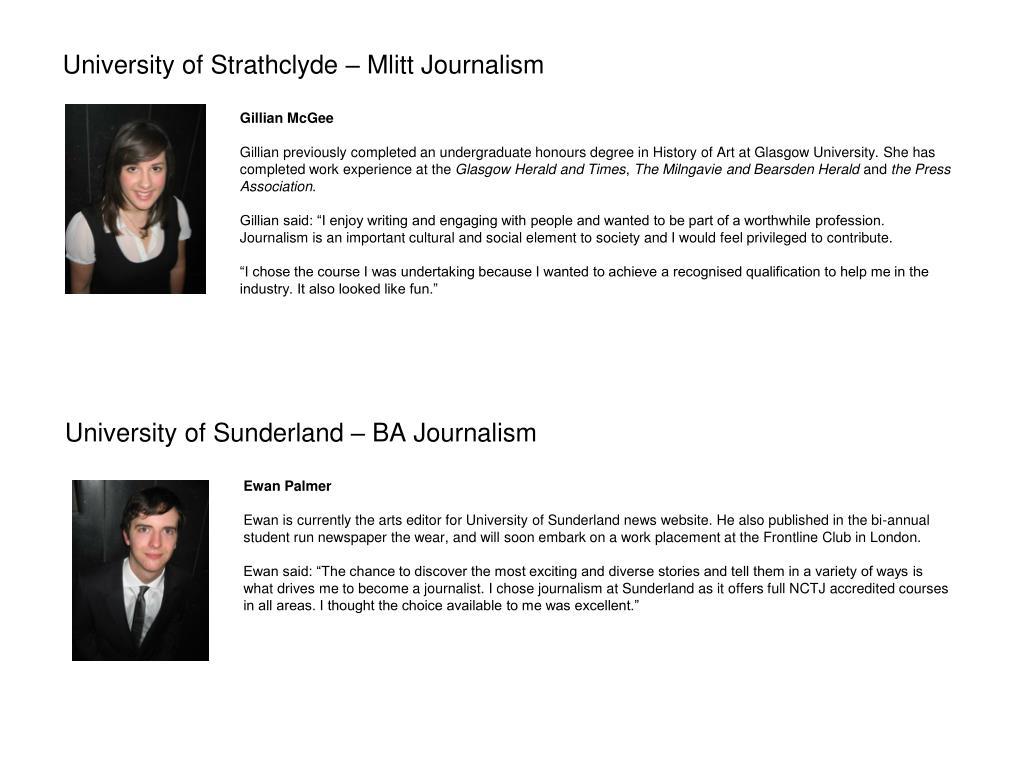 University of Sunderland – BA Journalism