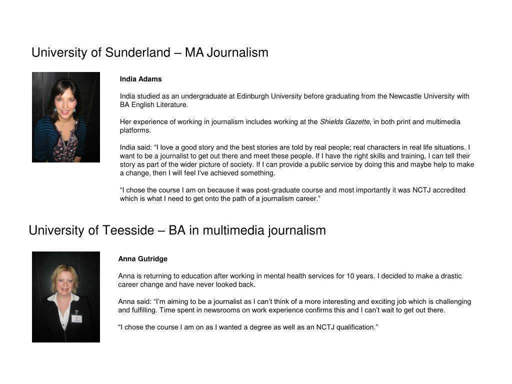 University of Teesside – BA in multimedia journalism