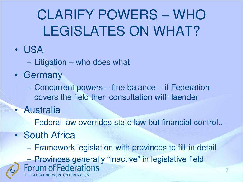 CLARIFY POWERS – WHO LEGISLATES ON WHAT?