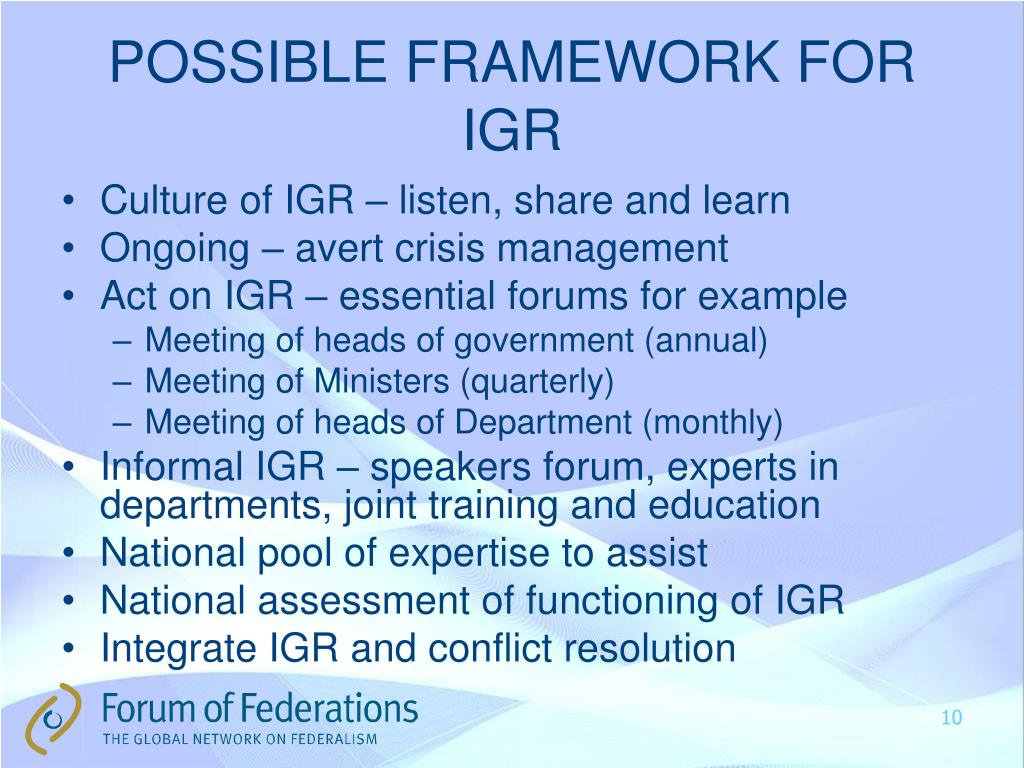 POSSIBLE FRAMEWORK FOR IGR