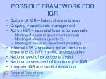 possible framework for igr