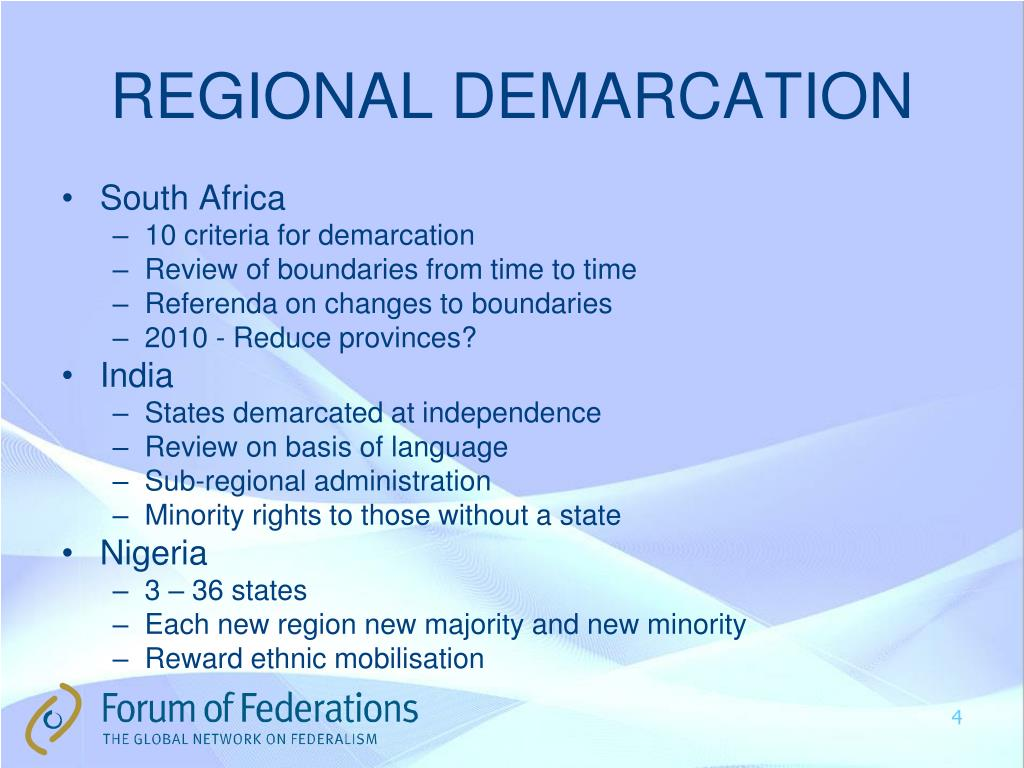 REGIONAL DEMARCATION