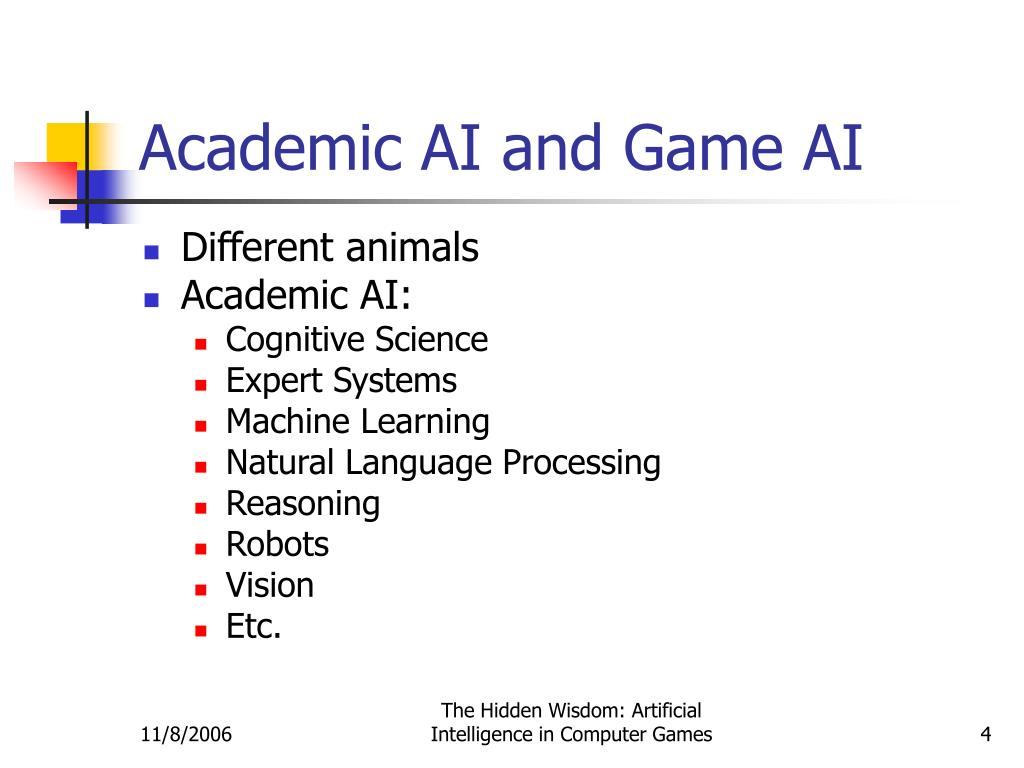 Academic AI and Game AI