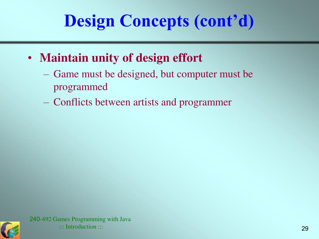 Design Concepts (cont'd)