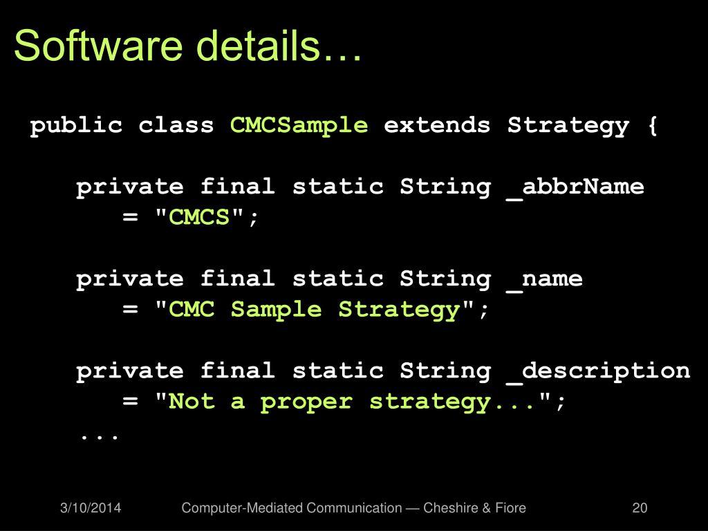 Software details…
