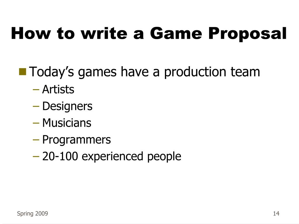 How to write a Game Proposal