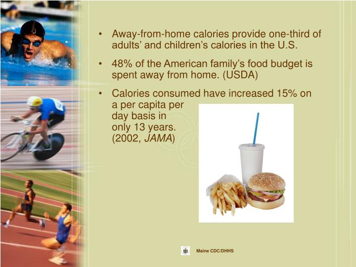 Away-from-home calories provide one-third of adults' and children's calories in the U.S.
