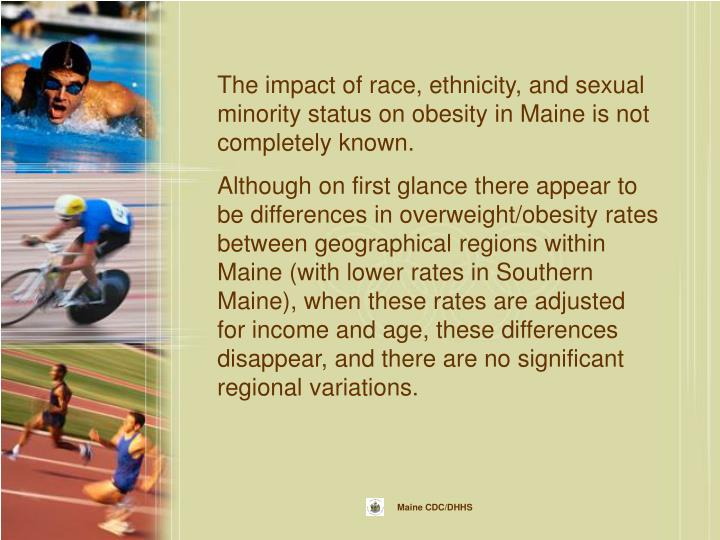 The impact of race, ethnicity, and sexual minority status on obesity in Maine is not completely known.