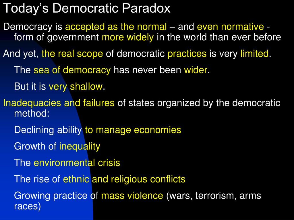 Today's Democratic Paradox