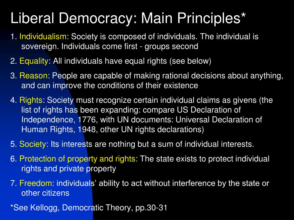 Liberal Democracy: Main Principles*