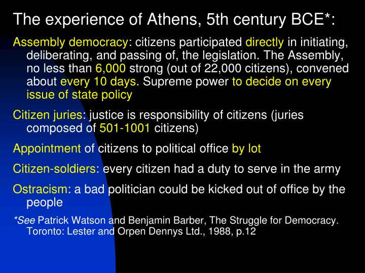 The experience of Athens, 5th century BCE*: