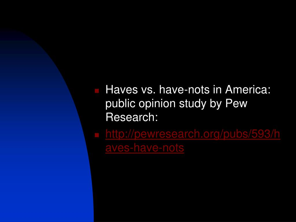 Haves vs. have-nots in America: public opinion study by Pew Research: