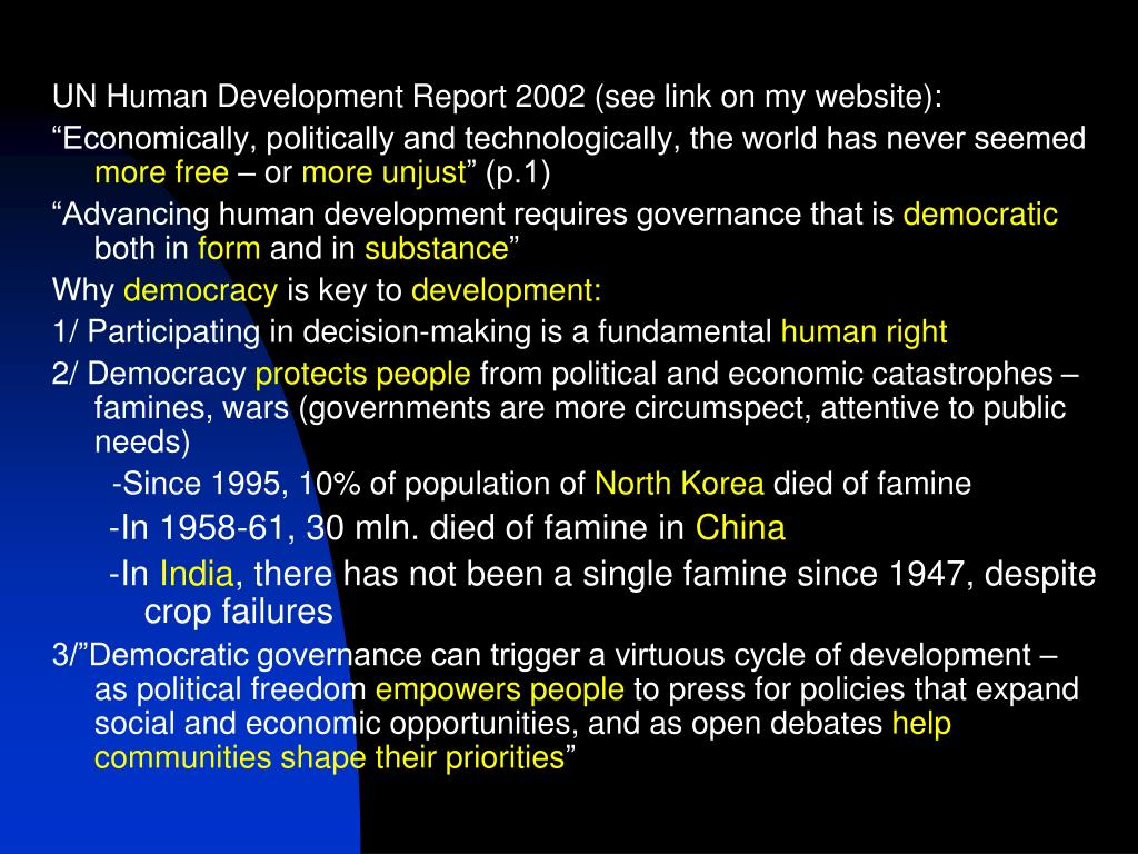 UN Human Development Report 2002 (see link on my website):