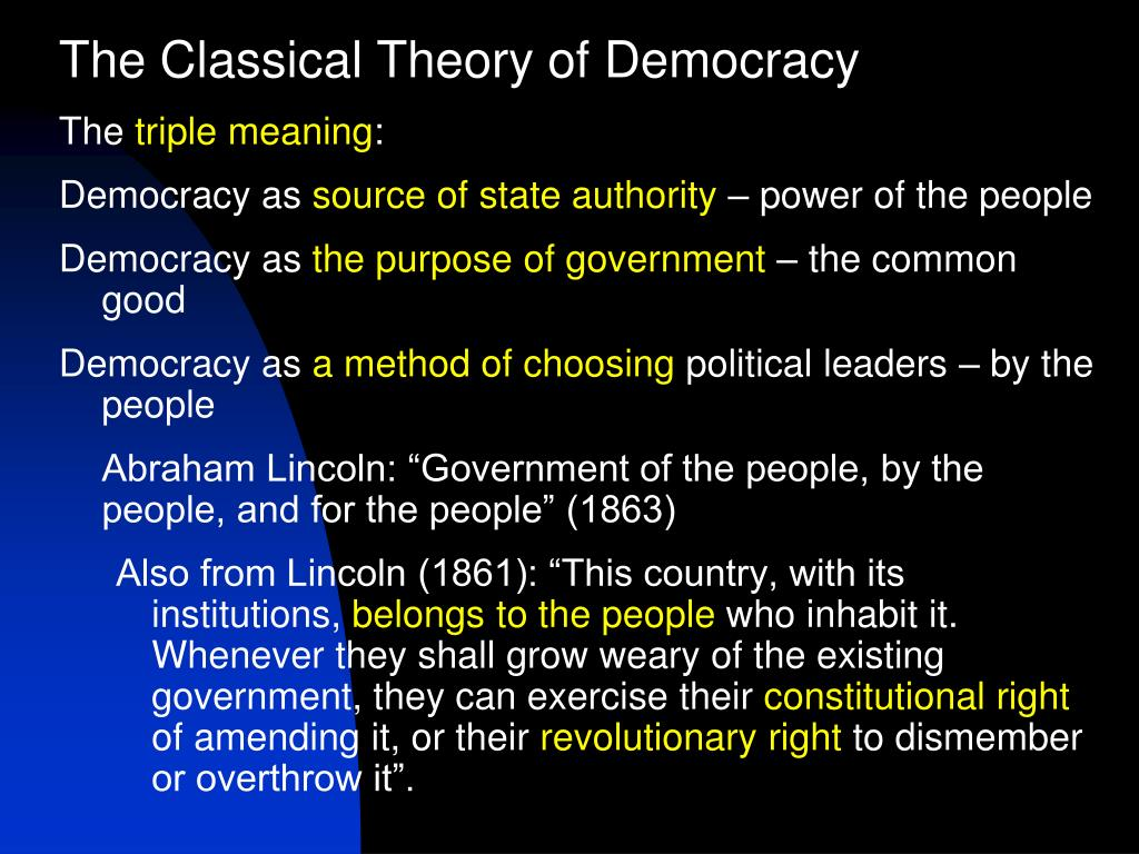 The Classical Theory of Democracy