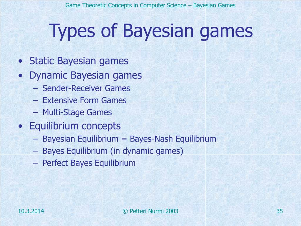 Types of Bayesian games