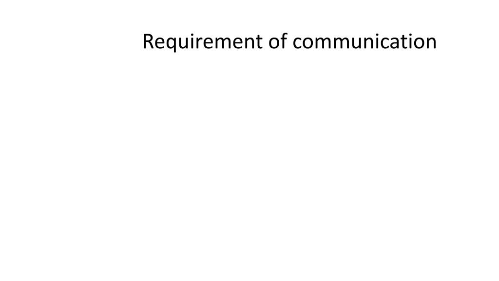 Requirement of communication