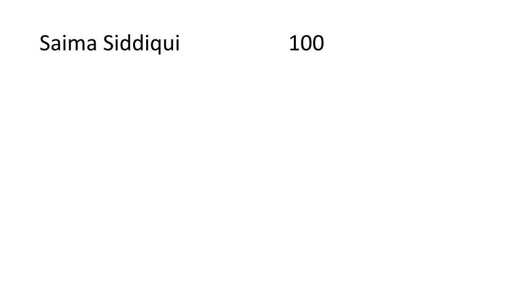 Saima Siddiqui                    100