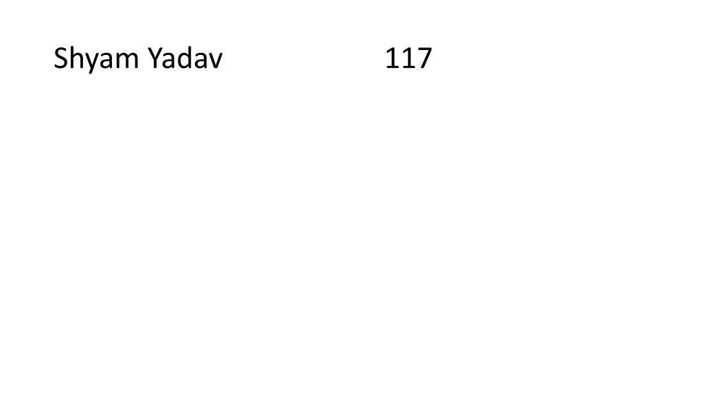 Shyam Yadav                      117