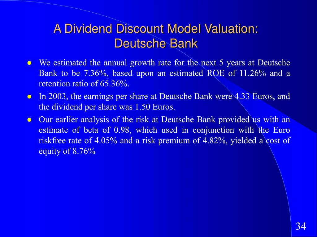 A Dividend Discount Model Valuation: Deutsche Bank
