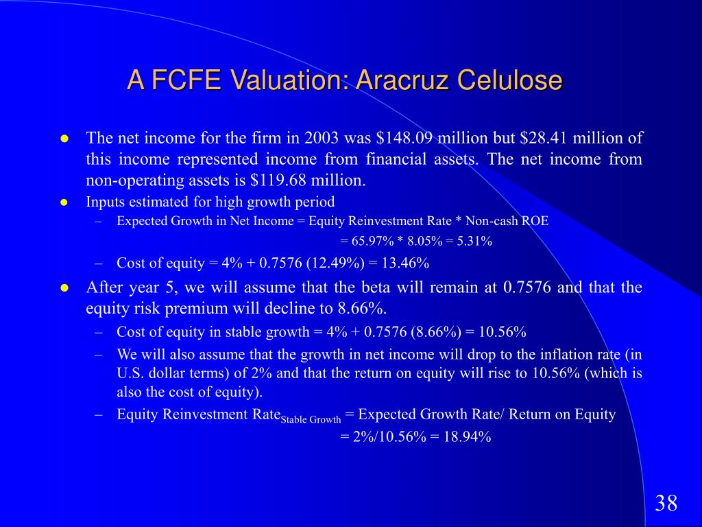 A FCFE Valuation: Aracruz Celulose