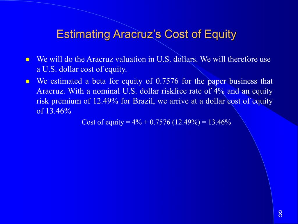 Estimating Aracruz's Cost of Equity