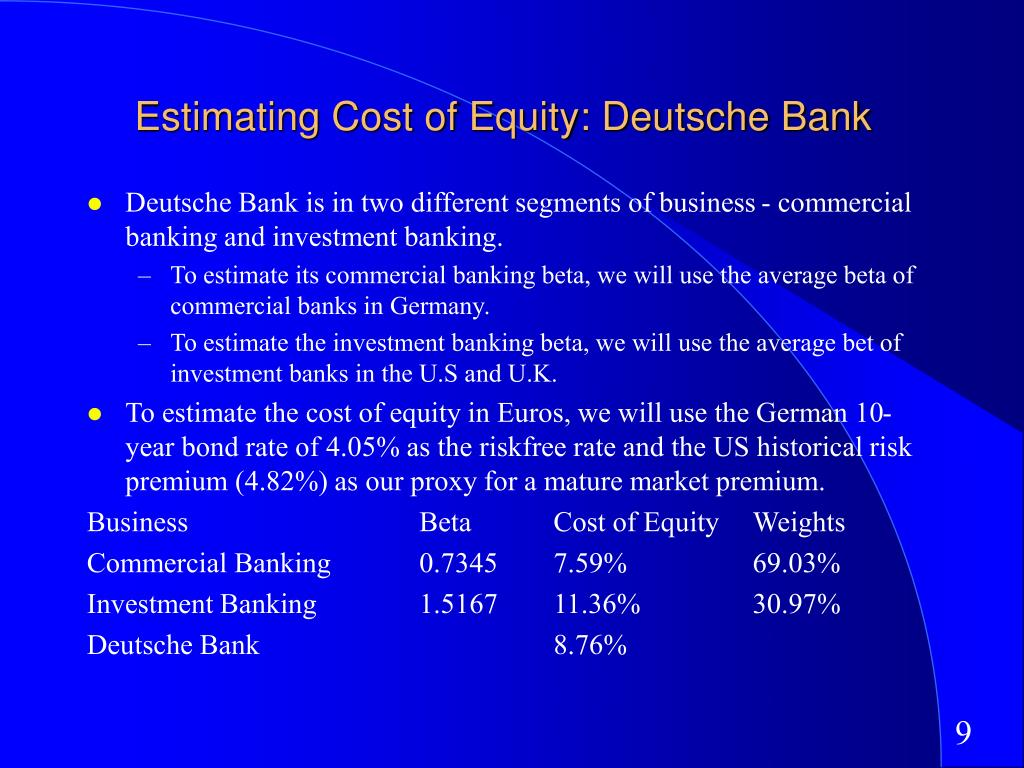 Estimating Cost of Equity: Deutsche Bank