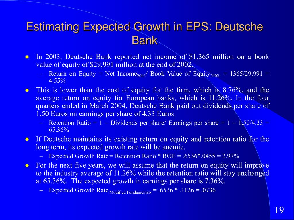 Estimating Expected Growth in EPS: Deutsche Bank