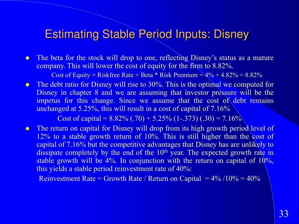 Estimating Stable Period Inputs: Disney