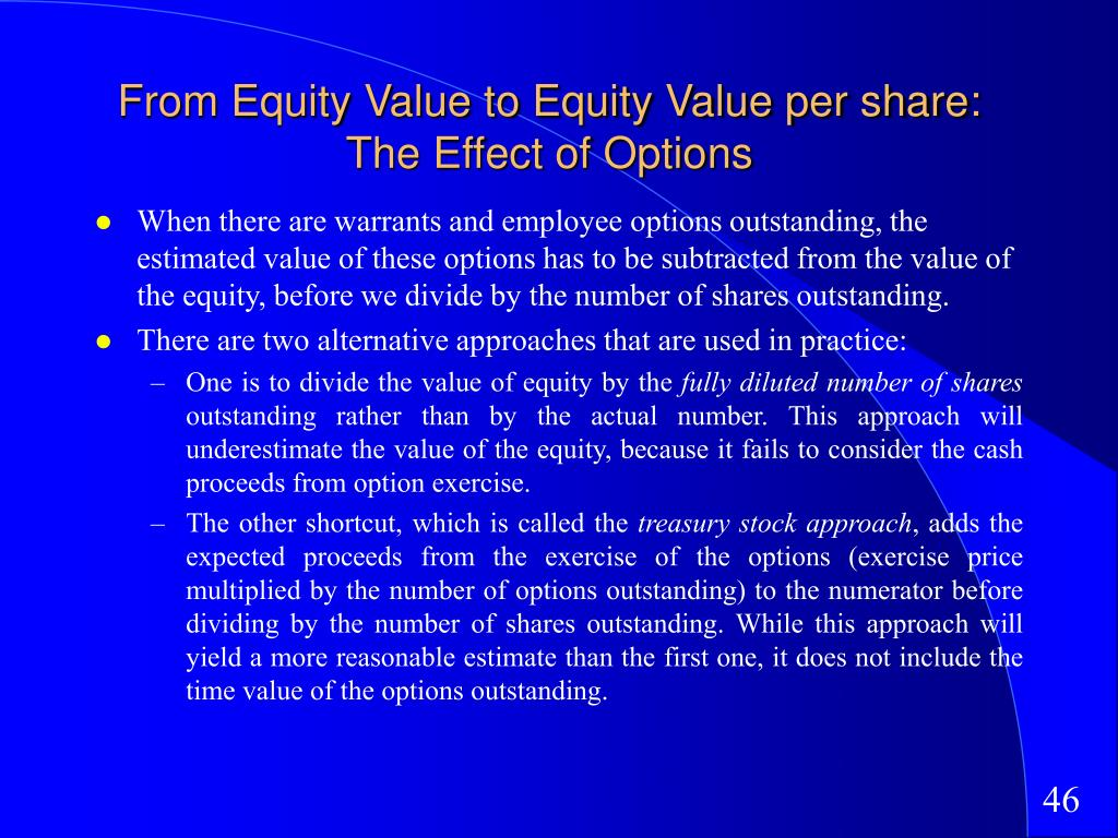 From Equity Value to Equity Value per share: The Effect of Options