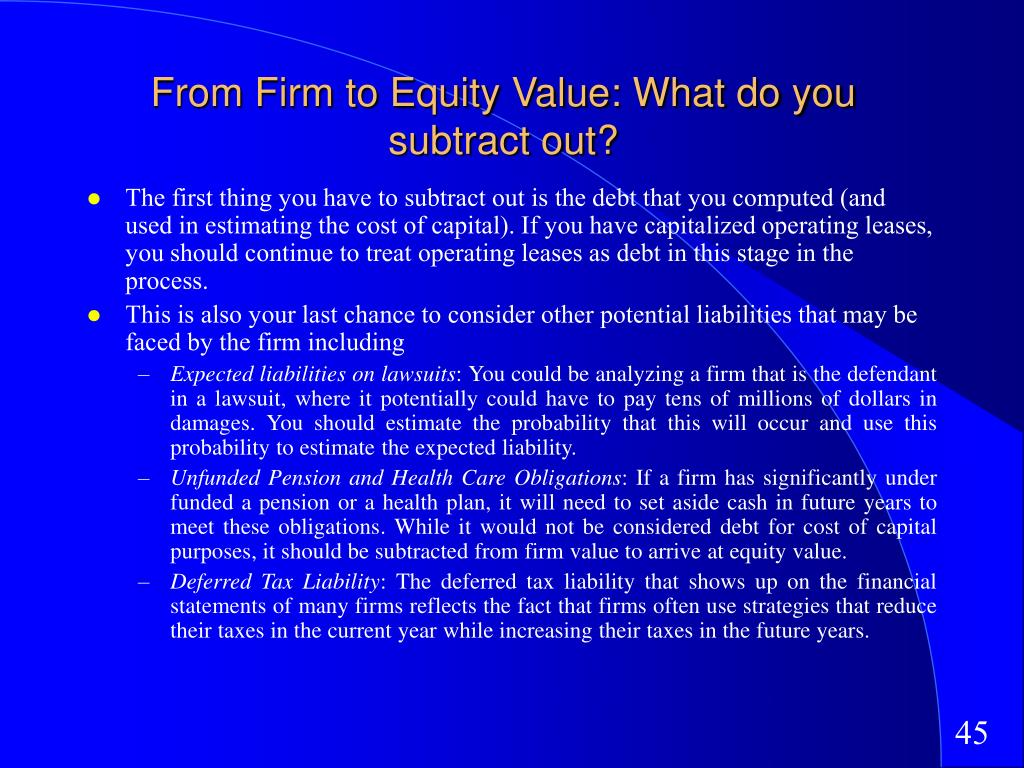 From Firm to Equity Value: What do you subtract out?