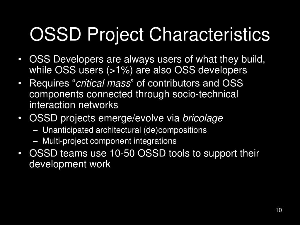 OSSD Project Characteristics