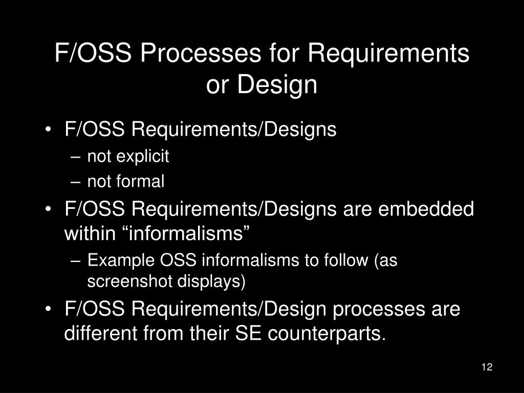 F/OSS Processes for Requirements or Design