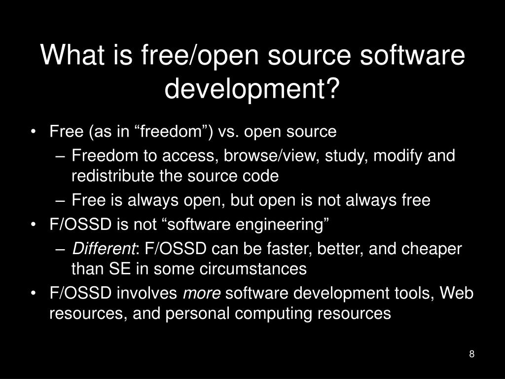 What is free/open source software development?