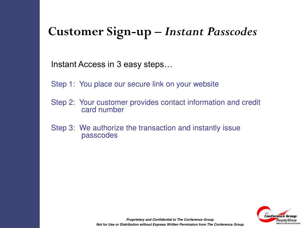 Customer Sign-up –
