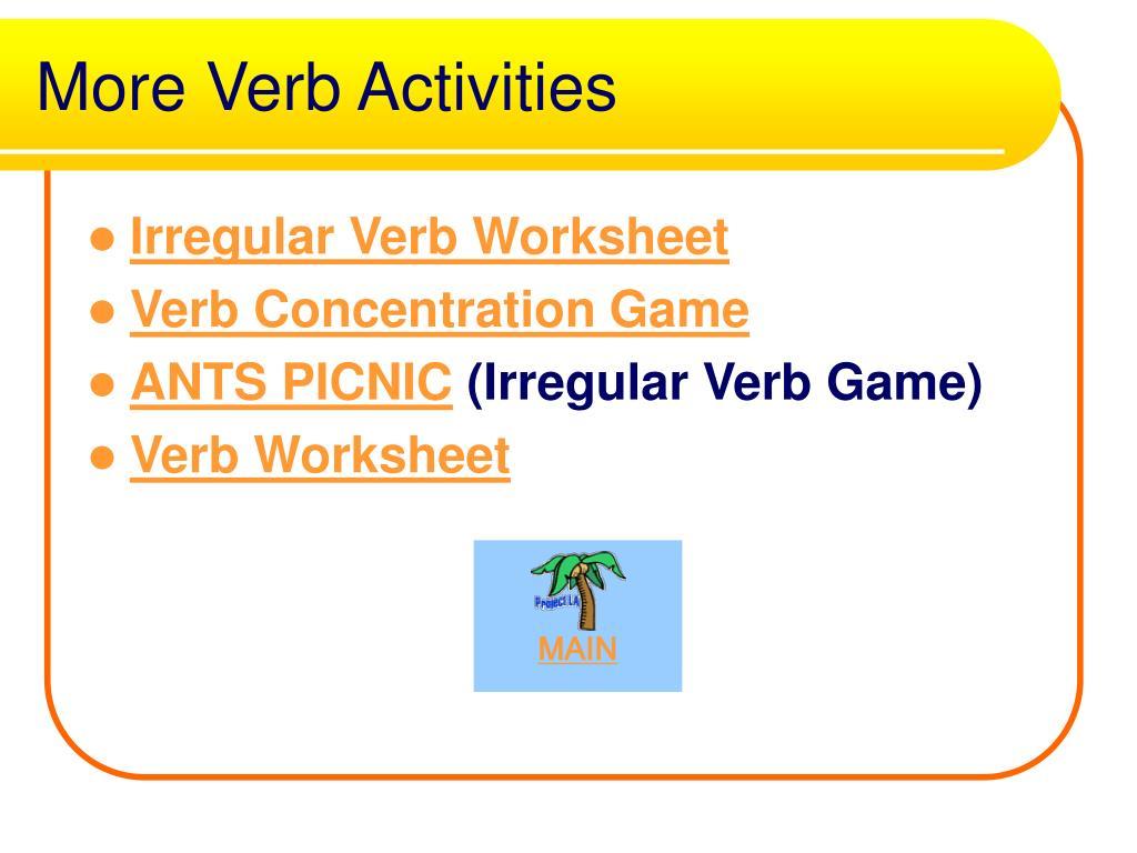 More Verb Activities