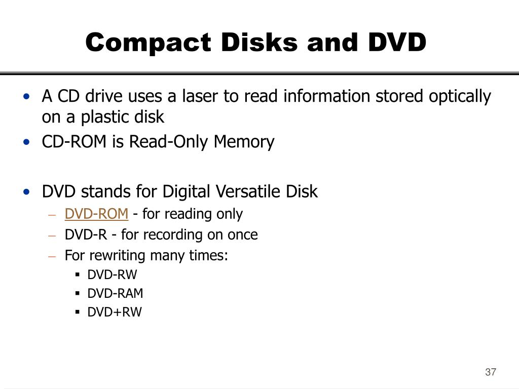 Compact Disks and DVD