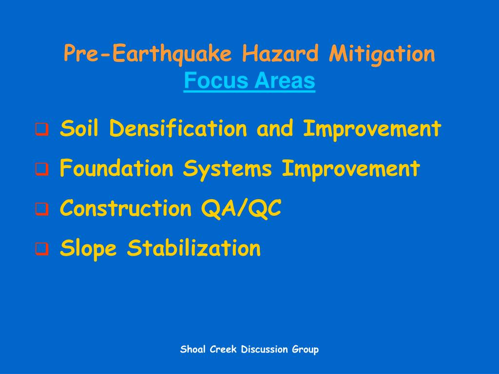 Pre-Earthquake Hazard Mitigation