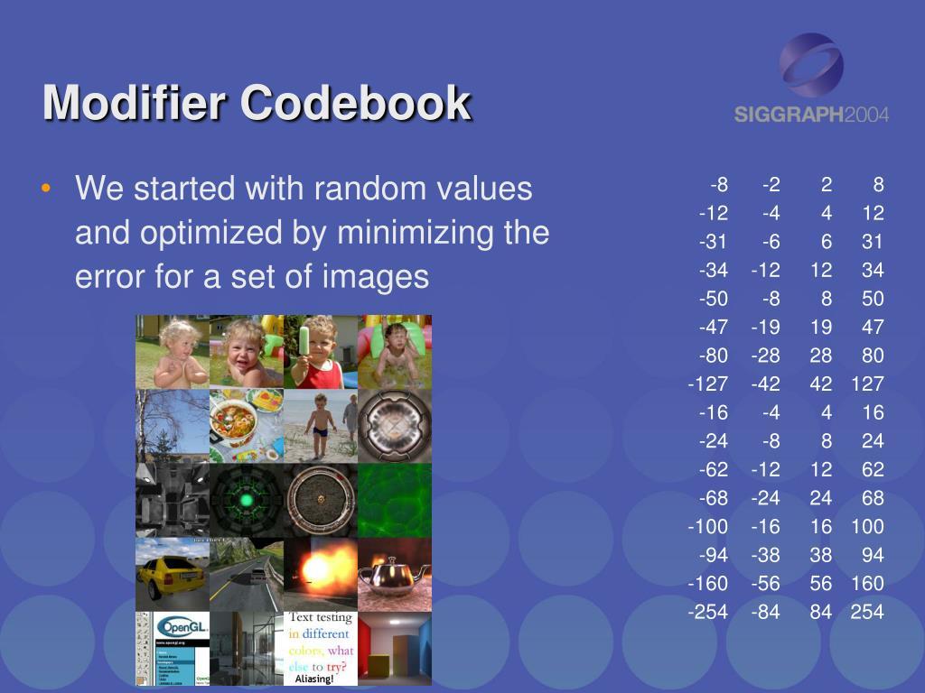Modifier Codebook